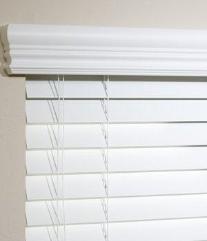 Made-to-Order 2 Inch Custom Faux Woods, Standard Faux Wood Blinds, 96W x 54H, White - Shutter Shades Cheap