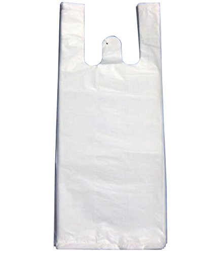 100PCS White Plastic T-Shirt Shopping Bags Grocery, used for sale  Delivered anywhere in Canada