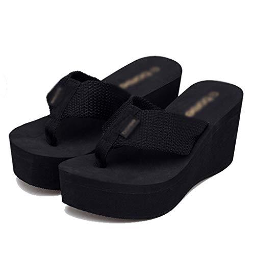 Dimensioni Aminshap Infradito Sandali Slips colore Nero Slippers Da Zeppa Nero Con Donna Pantofole Scarpe Estate Muffin Spiaggia Thick 36eu aqdaBF