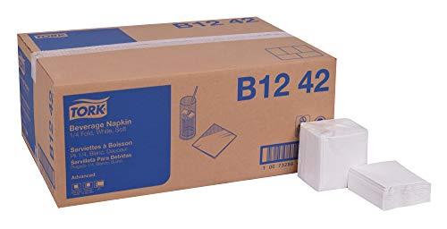- TORK Advanced B1242 Soft Beverage Napkin, Key Embossed, 2-Ply, 1/4 Fold, 9.25