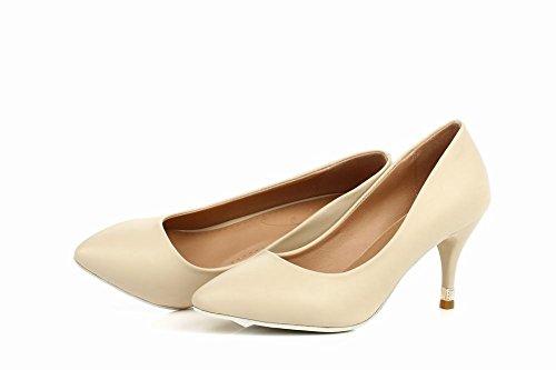 Carol Shoes Women's Elegant Single Color Stiletto High Heel Court Shoes Beige U6RsG