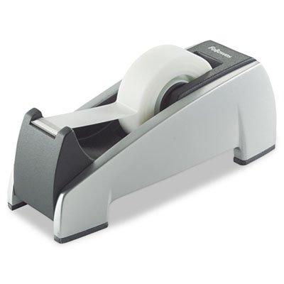 Office Suites Desktop Tape Dispenser, 1'' Core, Plastic, Heavy Base, Black/Silver