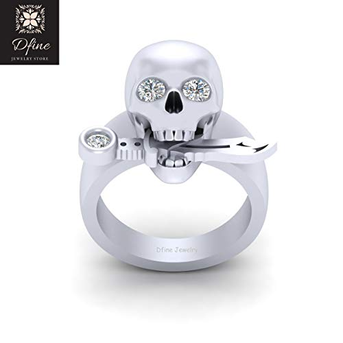 Solid 10k White Gold Knife and Gothic Skull Wedding Ring Skull Ring With Diamond Eyes