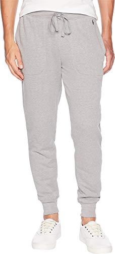 Polo Ralph Lauren Men's Brushed Fleece Jogger Pants Andover Heather/Cruise Navy Pony Print Large (Lauren Ralph Mens Fleece)