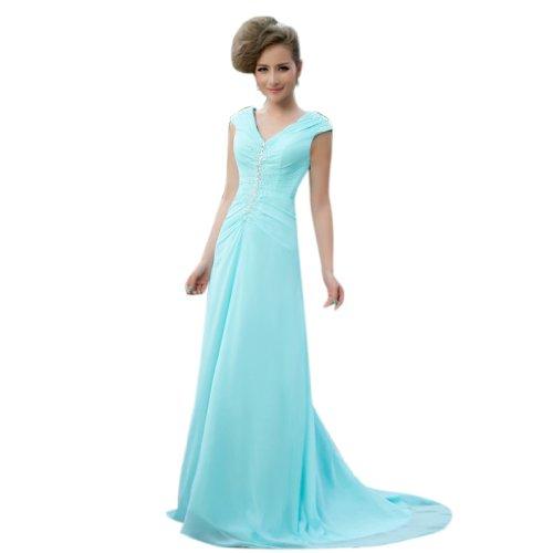 Schleppe Linie Reissverschluss Kleidungen V A Aermellos Abendkleider Ausschnitt Blau Dearta Chiffon Hof Damen RUnH88