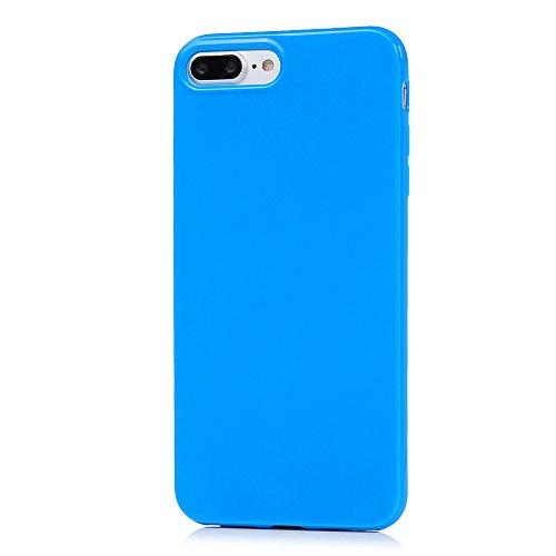 Badalink 3 x Coque pour iPhone 7 Plus, Case Housse Étui Bumper Coque de Protection TPU Silicone Gel Transparent Souple Flexible Ultra Mince Slim Léger Anti Rayure Antichoc Housse Motif Bleu Vert Clair