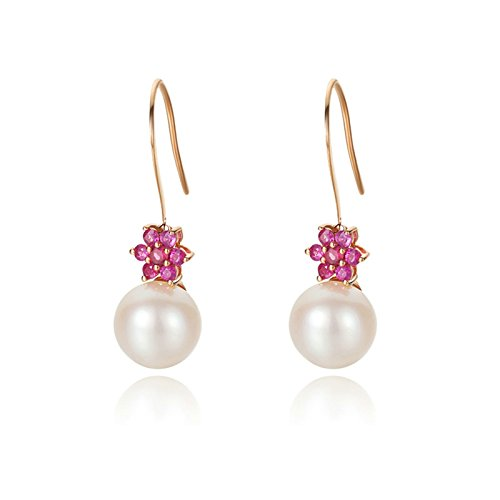 Beydodo Dangle Earrings for Women 18k Real Gold Round Ruby Real Pearl Earrings Rose Gold Earrings by Beydodo