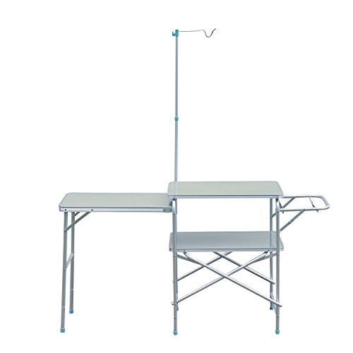 totoshop New Silver Camping Kitchen Center Stand Portable Folding Camp Cooking Aluminum Picnic Table ()