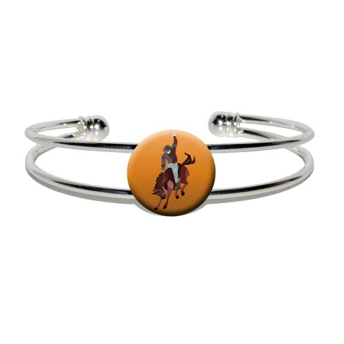 Graphics and More Rodeo Cowboy Orange - Western Horse Country - Novelty Silver Plated Metal Cuff Bangle (Country And Western Costumes)