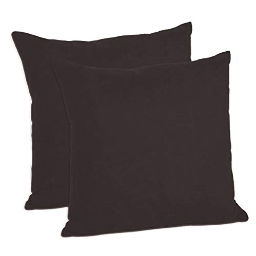 MoonRest Pack of 2- Suede Square Decorative Throw Pillow Covers Sofa sham Solid Colors Cushion Pillowcases (18 x 18 Chocolate)