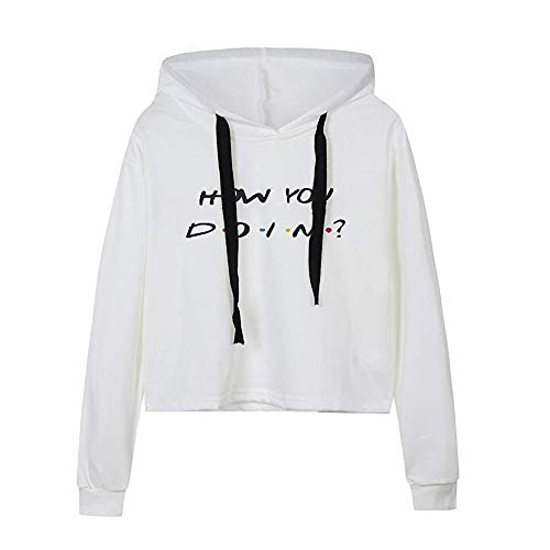 Clearance Sale! Toimoth Women's Long Sleeve Letter Print Crop Hoodie Pullover Sweatshirt Blouse (White,L)