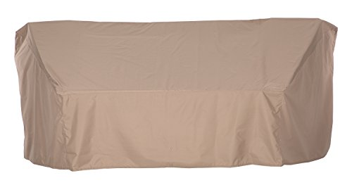 SunPatio Outdoor Crescent Curved Sectional Sofa Cover, 104 L/60 L x 36 W x 38 H, Lightweight, Water Resistant, Eco-Friendly, Helpful Air Vent, All Weather Protection, Beige