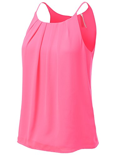 Classic Print Tank Top (H2H Womens Classic Floral Print Double-Layered Spaghetti Haltered Chiffon Top NeonPink US/Asia L (AWTHT023))