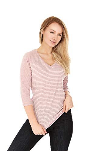 - X America Junior and Plus Size Raglan Baseball Tee, 3/4 Sleeve Shirts for Women, Made in USA (Large, Mauve Stripe)
