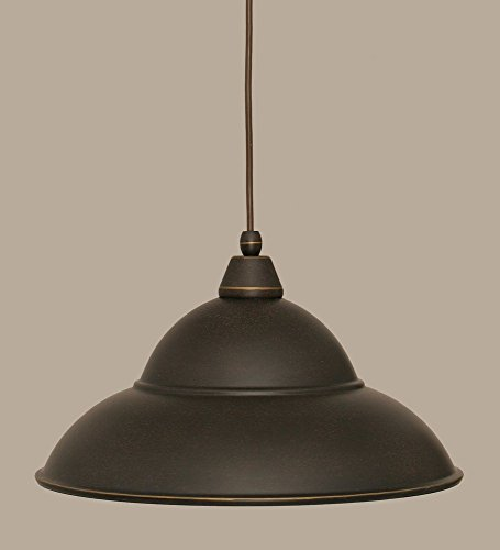 Toltec Company-One Light Dark Granite Dark Granite Cone Metal Shade Down Pendant-22-DG-429