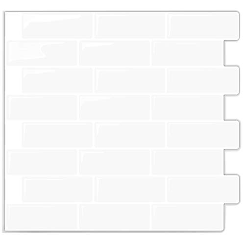 (Self Stick Backsplash Subway White Tile Bathroom and Kitchen Wall | Peel and Stick, Stick-On Backsplash Sticker Tile - Anti-Mold Decal – Also Great for for Office, Showroom, RV – 10