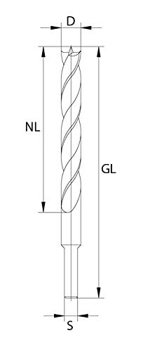 D GL 75 mm NL 42 mm S 1//4 avec queue hexagonale 4 mm ENT M/èches h/élico/ïdale ex/écution premium HSS Diam/ètre