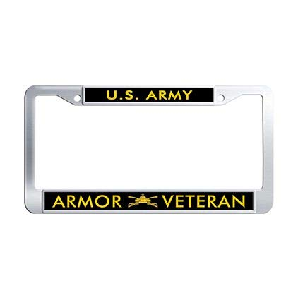 Dongsmer US Army Armor Veteran Auto License Plate Frame Stainless Steel Car License Plate Covers