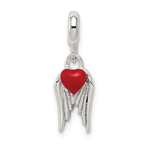 ICE CARATS 925 Sterling Silver Red Enameled Heart Wings Enhancer Necklace Pendant Charm Love Fine Jewelry Ideal Gifts For Women Gift Set From Heart by ICE CARATS