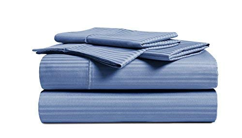 CHATEAU HOME COLLECTION Luxury Combed Cotton 500 Thread Count Damask Stripe 4 Piece Sheet Set, Great Deal - Lowest Prices, (Cal King, Blue)