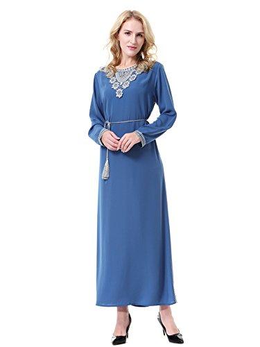 Maxi Manches Et Roi Rond Femmes Col Bleu Longues Islamique Robe GladThink Musulman 8ORHxS