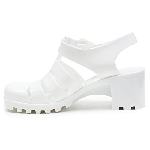 Best Stylish Mid Wedge Rain Strappy Jelly Sandal Shoe for Sale Women Teen Girls (White Size -