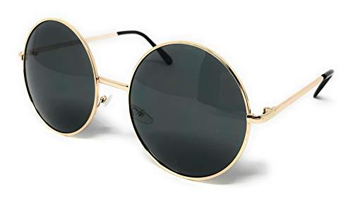 - WebDeals - Hippie Retro Super Large Oversized Metal Round Circle Sunglasses... (Gold, Smoke)