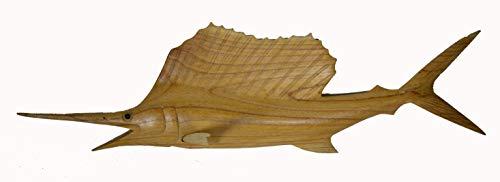 Hand Carved Wood Sailfish Marlin Fish Mount Trophy Ocean Sport Fishing Sportsmen Catch ()