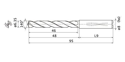8 mm Shank Dia. 1.2 mm Point Length 5 Hole Depth 6.35 mm Cutting Dia Mitsubishi Materials MMS0635X5D080 Series mms Solid Carbide Drill Internal Coolant