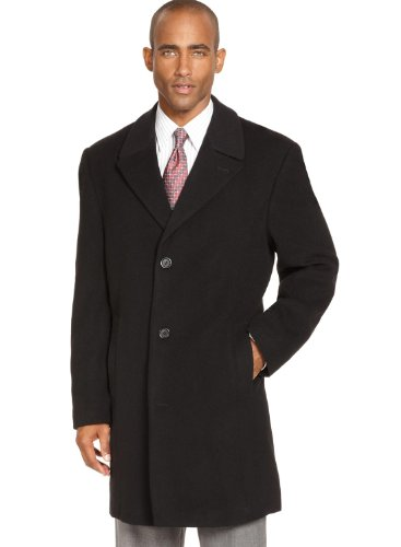 Izod Buxton Black Solid Three Button Wool Blend New Men's Overcoat (38 Regular) by IZOD