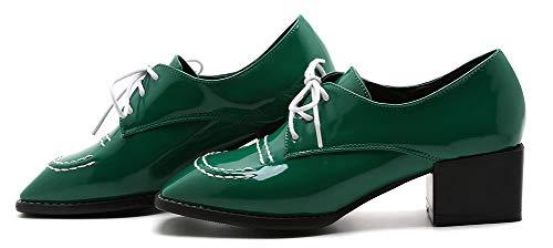Bout Travail pour Vert Chaussures Rétro Derbies Aisun Femme à Lacets Carré 7SAqYxOEnw