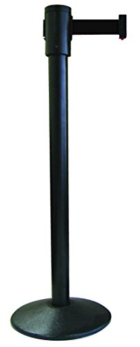 (Visiontron 321-BA-BK Single Line Post w/ 15' Retracta-Belt, Black with Black Belt)