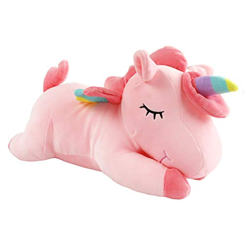 Athoinsu Fairy Unicorn Stuffed Animals with Rainbow Horn Wings Adorable Plush Soft Toy Easter Gift for Girls Lying, 16'', -