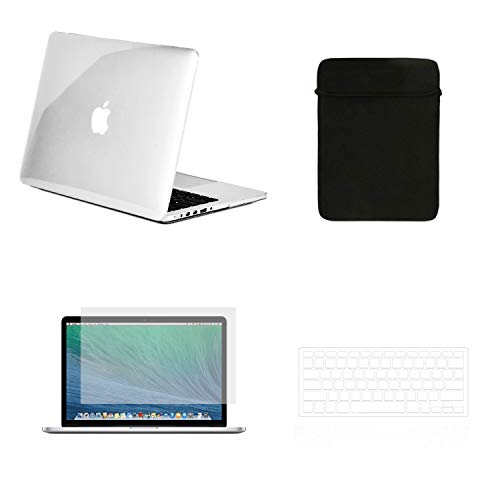 TOP CASE - 4 in 1 Matte Hard Case,Keyboard Cover,Sleeve Bag,Screen Protector Compatible with Old MacBook Pro with Retina Display Model A1425 and A1502 - Crystal - Crystal Hard Case Sleeve