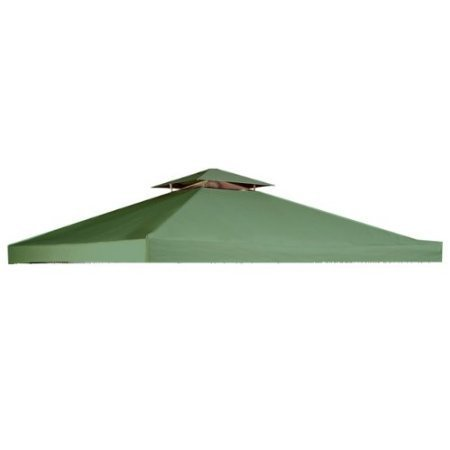 Garden Winds OPEN BOX – RIPLOCK FABRIC – 10′ X 10′ Universal Gazebo Replacement Canopy Top Cover- GREEN For Sale