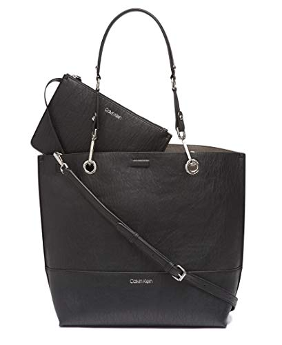 Calvin Klein Sonoma Reversible Novelty North/South Tote, Black/Silver