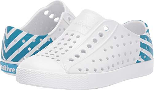 Native Kids Shoes Unisex Jefferson Glow Block (Toddler/Little Kid) Shell White/Shell White/Ultra Blue Glow 11 M US Little Kid