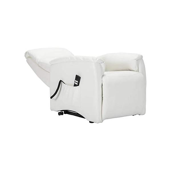 Sime – Fauteuil Relax avec 2 Moteurs et système Vertical Lift. Revêtement en Simili Cuir Ignifuge Iris-2M-ECWHI Blanc…