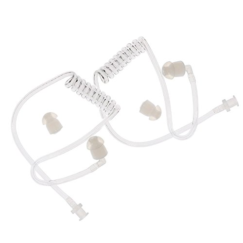 QJang Twist On Replacement Clear Coiled Acoustic Air Tube for Two Way Radio Headset Earpiece Earphone (Pack of 2)