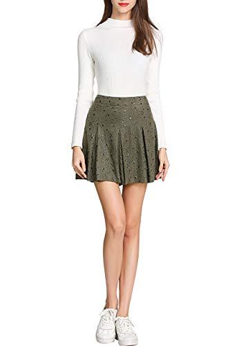 Little Smily Women's A Line Faux Suede High Waist Pleated Mini Skirt (12, Oliver Stars) (Star Mini Skirt Big)