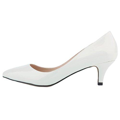 Elegante Tacco Bianca Tacco WanYang Ragazze Kitten Donne Spillo a Heel Shoes Scarpe col Punta Scarpe a Synthetic BRzBEw