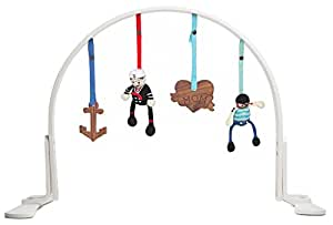 Finn + Emma Play Gym, Organic Cotton and Natural Wood with Hand-Knit Rattle and Teether Stroller Toys for Baby Boy or Girl – Sailor - White