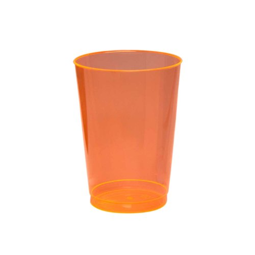 Party Essentials Hard Plastic 10-Ounce Party Cups and Tall Tumblers, Neon Orange, 25-Count ()