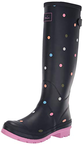 Joules Women's Welly Print Rain Boot Navy ping Pong spot 9 Medium ()