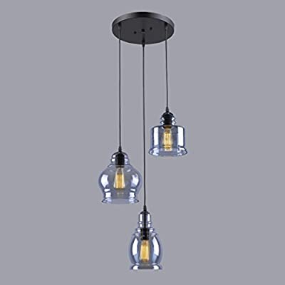 CLAXY® Ecopower Vintage kitchen Linear island Glass Chandelier Pendant Lighting Fixture-3 Lights