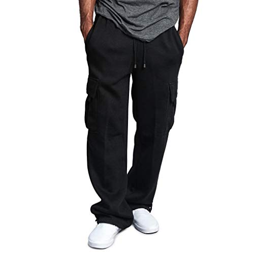 Creazrise Men's Full Elastic Waist Loose Fit Lightweight Workwear Pull On Cargo Pants Black ()
