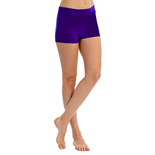 Anza Womens Active Wear Dance Booty Shorts-Purple,Medium -