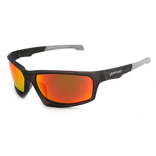 Peppers Sunglasses - Trigger / Frame: Matte White Lens: Polarized Brown with Fire Red Mirror