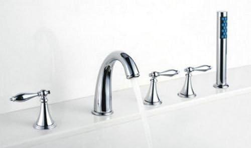 Yanksmart Deck Mounted 5 Pcs 3 Handles Bathroom Widesrpead Faucet Bath Tub Mixer Tap Chrome 02-KNMT