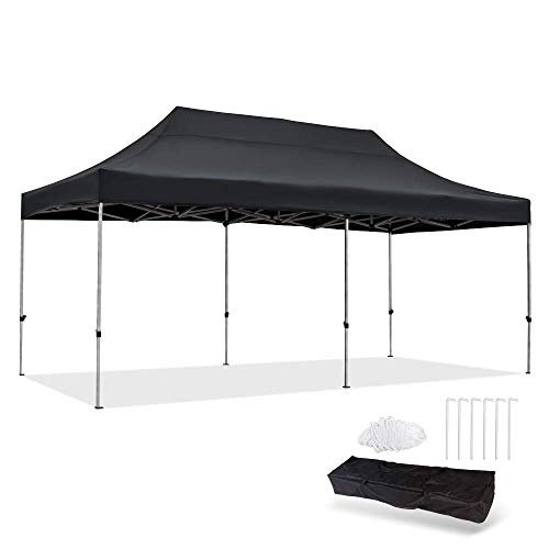 Snail 10'x20' Straight Leg Pop Up Canopy Tent with Heavy Duty Aluminum Frame and Waterproof 420 Top, Portable Commercial Instant Canopy Shelter with Carry Bag, Black